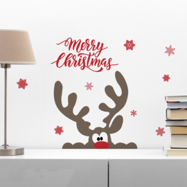 Muur- en raamsticker Merry Christmas met Rendier
