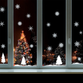 Muur- en raamsticker Sneeuwlandschap Kerstmis