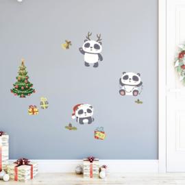 Muur- en raamsticker Panda Kerstmis