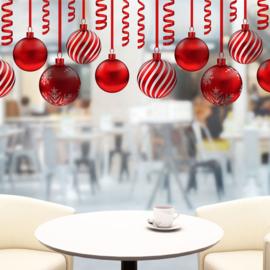 Muur- en raamsticker Rode Kerstballen