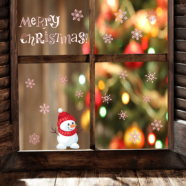 Muur- en raamsticker Merry Christmas met Sneeuwpop