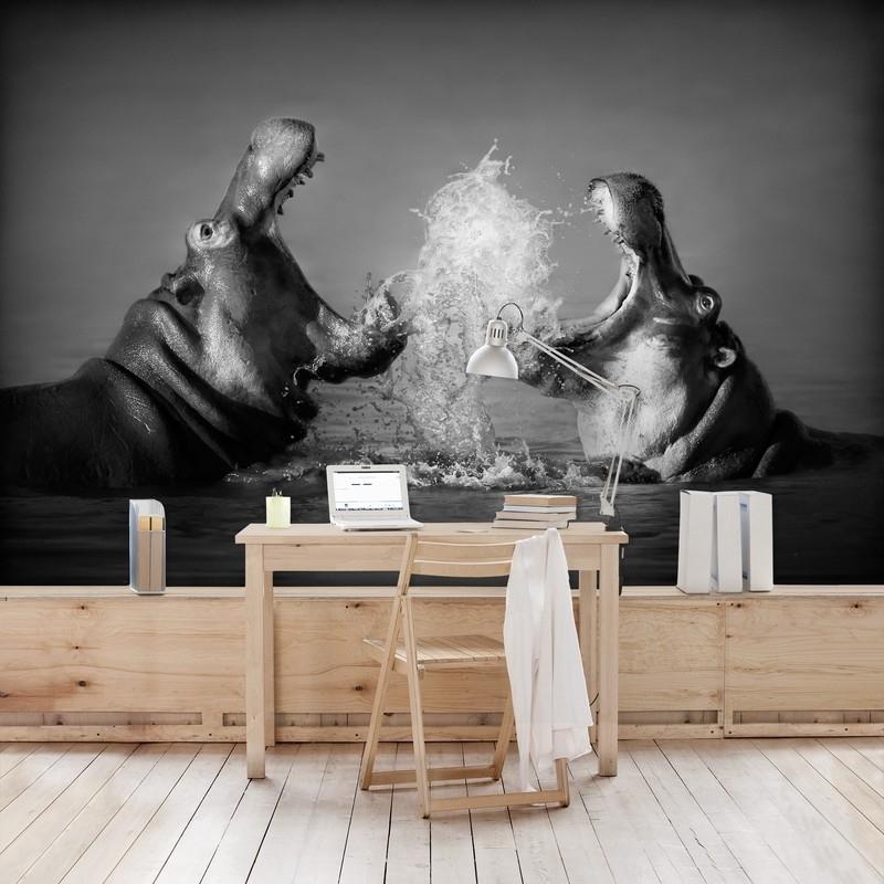 Vliesbehang Vechtende Nijlpaarden (vanaf)