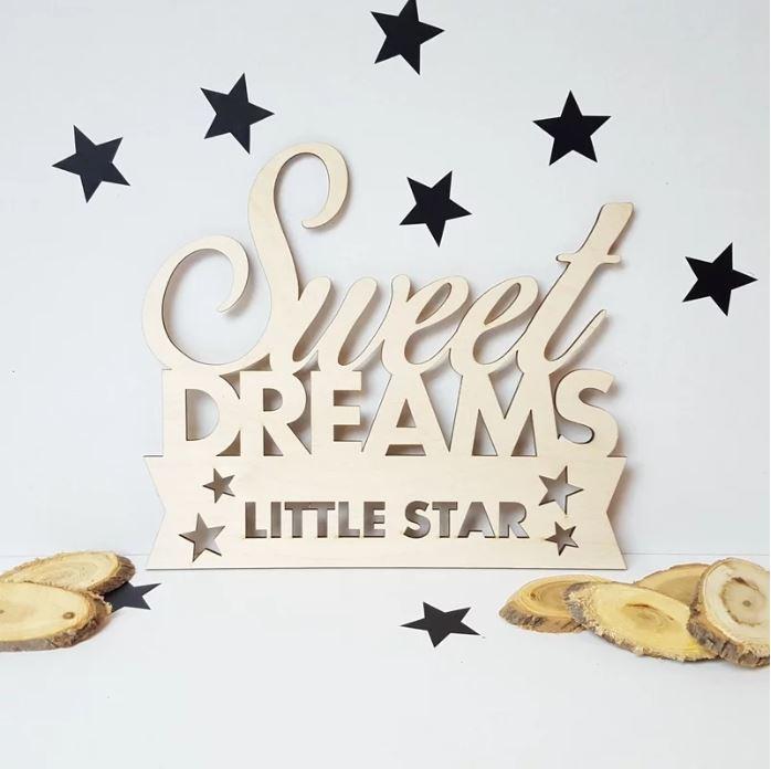 """Houten tekst """"Sweet Dreams"""""""