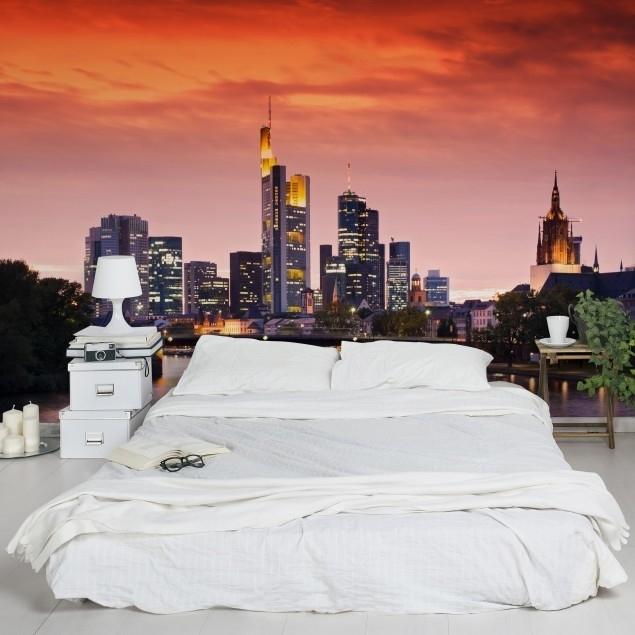 Vlies Fotobehang; Frankfurt Skyline (vanaf)