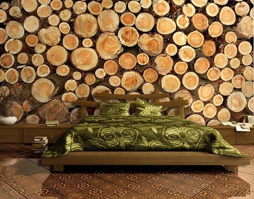 Behang met boomstammenmotief