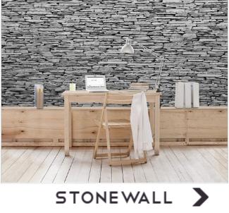 Behang met stenen muren