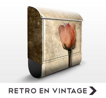 Brievenbus met retro en vintage afbeeldingen
