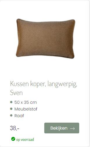 Kussen koper Sven langwerpig Raaf Ookinhetpaars