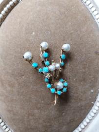 Oude broche met turquoise steentjes