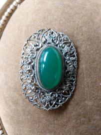 Filegrain broche met groene steen
