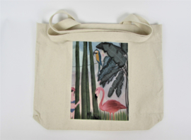 Eco shopper with print flamingo