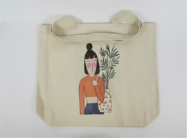 Eco shopper with print plant lady