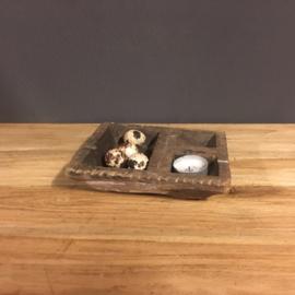 Oud houten oliebakje