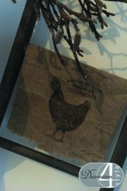 Linnen doekje Kip 30x45 cm