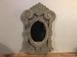 Houten Ossenoog spiegel L