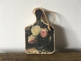 Houten bordje S bloemen