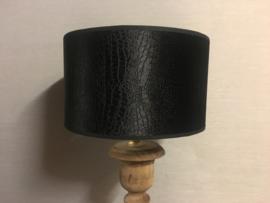 Cilinder Lampenkap Ø25 cm Zwart velours gemeleerd