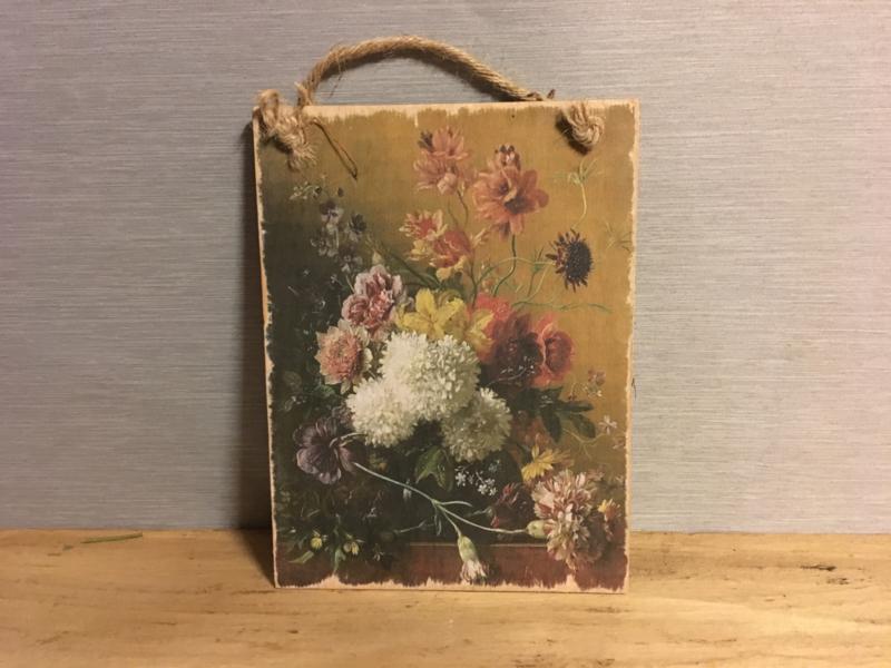 Houten bordje bloemen nr.3