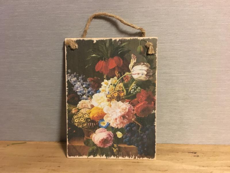 Houten bordje bloemen nr.2
