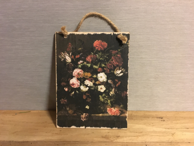 Houten bordje bloemen