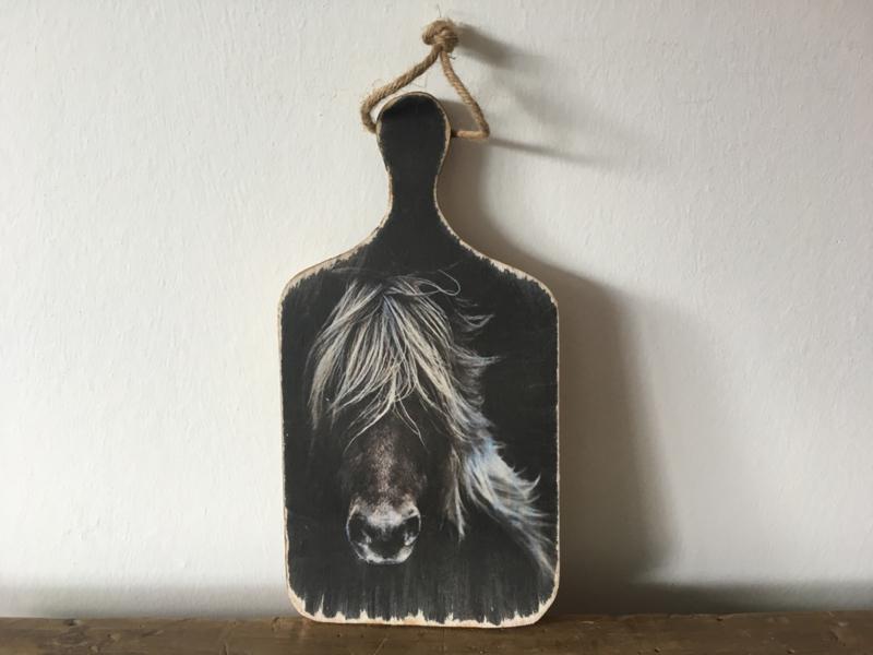 Houten bordje L paard