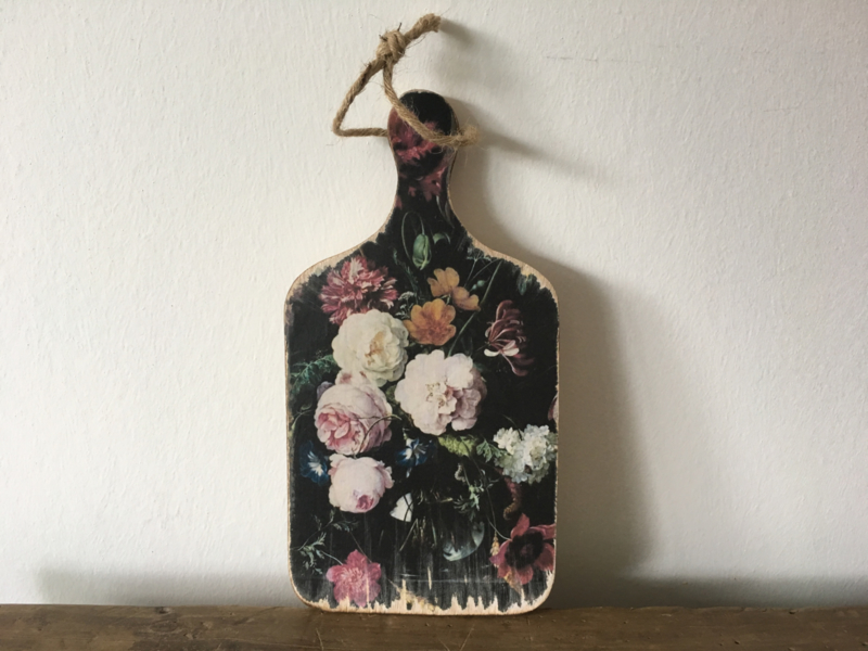 Houten bordje L Bloemen