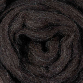Lontwol natuur bruin/zwart gemêleerd (ongeverfd)