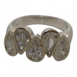 zilveren ring met 5 schitterende druppels zirkonia