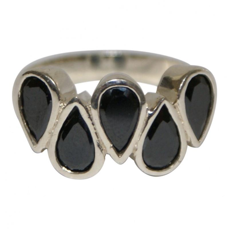 Zilveren ring met 5 `druppels` onyx