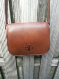 ALAIN DELON bruine leren vintage schoudertas, crossbody tas
