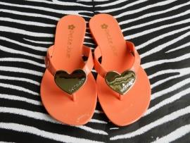 Petite Jolie slippers oranje met gouden hart