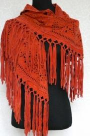 Suede shawl met franjes - oranje