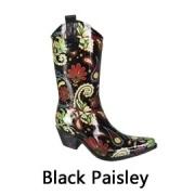 Black paisley festival regenlaarzen