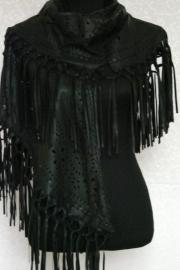 Suede shawl met franjes zwart