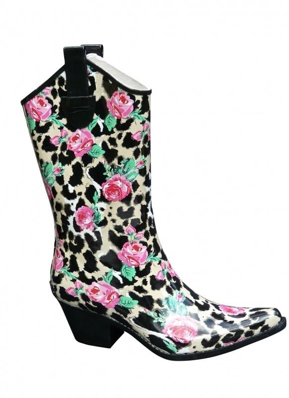 Leopard Rose cowboy festival regenlaarzen