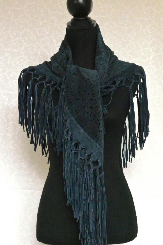Suede shawl met franjes denim blauw
