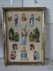 Beeldschoon ... Antieke poësiealbumplaatjes in sleetse gouden lijst