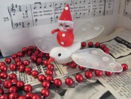 Antieke kerstbal: Bijzondere duif met gazen vleugels + kerstmannetje -A