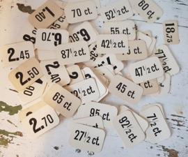 Set van 10 stuks Grote oude prijskaartjes