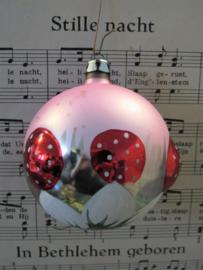 Oude/antieke kerstbal: Roze, paddenstoelen, bloem. Prachtig oudje!