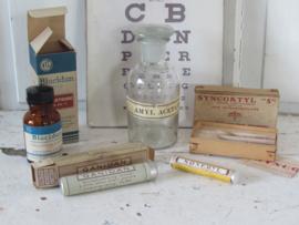 5-delige set oude/antieke Apotheekverpakkingen - medicijnen. Ca. 1930 - 1950 - XX