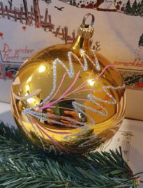XL GROTE oude kerstbal in oud goud met deco. omvang ca. 30 cm.!