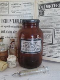 Oude/antieke Apothekerspot - Apothekersfles. NATRIUM SULFURICUM.