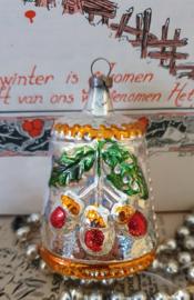 oude/antieke kerstbal: Prachtige fantasiefiguur met dennentakjes/vruchten.
