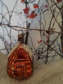 Oude/antieke kerstbal: Klein bronskleurig huisje