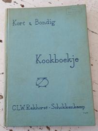 Uit 1957: Kort & Bondig KOOKBOEKJE voor de huisvrouw op het platteland