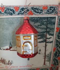 Oude/antieke kerstbal: Zeskantig huisje met deuren/ramen