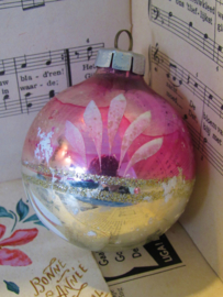 Oude/antieke kerstbal: Grote bal G.D.R. in sleets roze ...