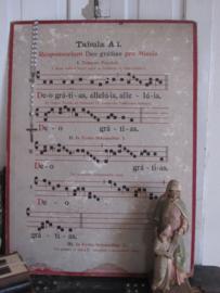 Antieke Gregoriaanse Zangplaat TABULA A1  - Responsorium Deo gratias pro Missis. DUBBELZIJDIG!