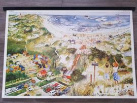Vintage aquarel schoolplaat 'Strand en duin' - jaren 70